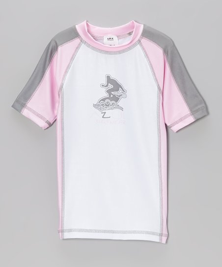 Pink & White Short-Sleeve Rashguard - Infant, Toddler & Girls