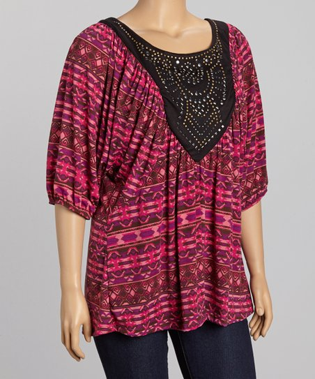 Magenta & Black Studded Dolman Top - Plus