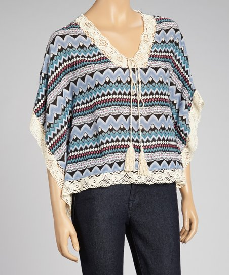 Blue Zigzag Lace-Trim Cape-Sleeve Top