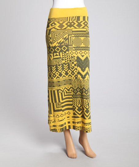 Gold Tribal Maxi Skirt