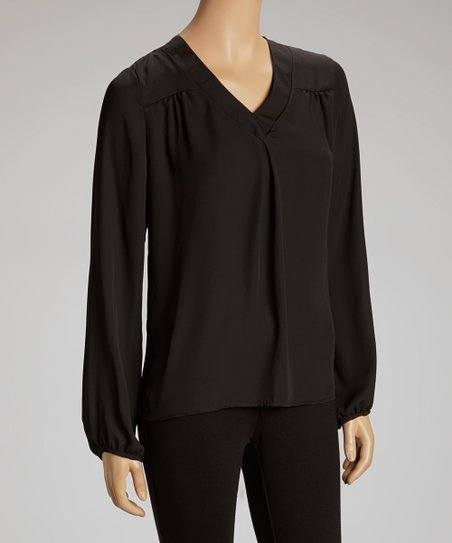 Black Ruched V-Neck Top