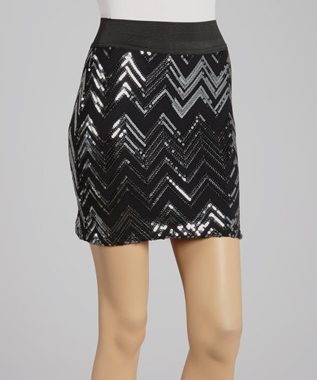 Silver Zigzag Sequin Skirt