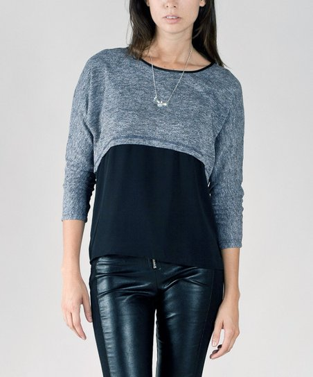 Black & Gray Color Block Sweater