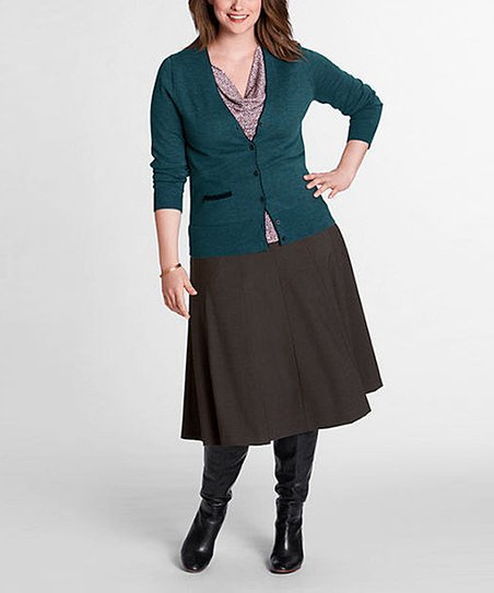 Brown Heather Gored Wool-Blend Skirt - Plus & Petite-Plus