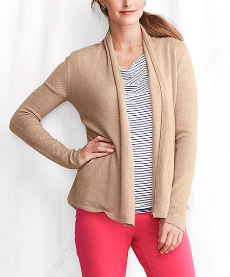 Camel Heather Classic Cashmere Cardigan - Petite & Women