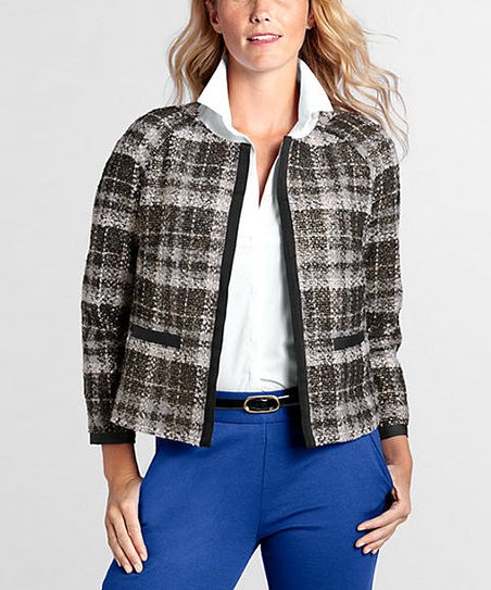 Gray Collarless Tweed Jacket - Petite & Women