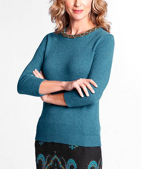 Moroccan Blue Wool-Blend Beaded Sweater - Petite, Women & Plus