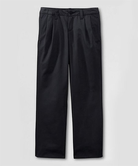Black Uniform Iron Knee Pleated Chinos - Girls