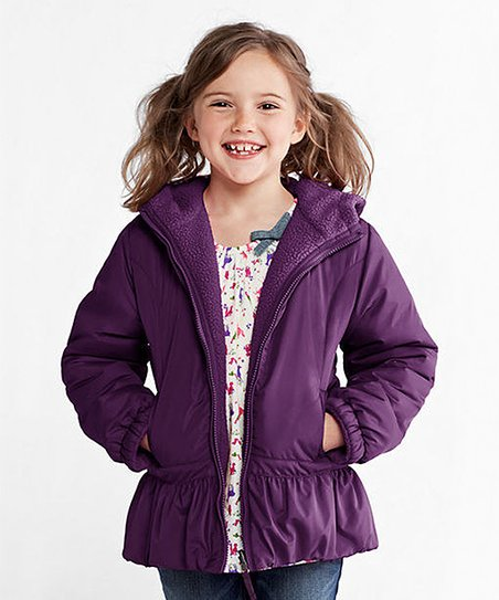 Bright Aubergine Reversible Jacket - Toddler & Girls