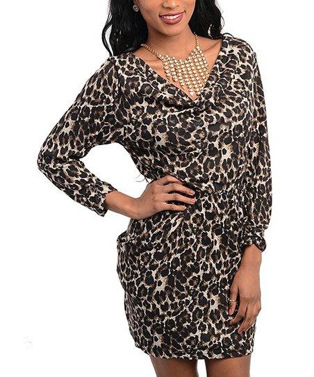 Black Leopard V-Neck Dress