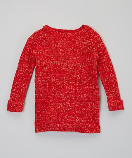 Red Metallic Cable-Knit Sweater Dress - Infant
