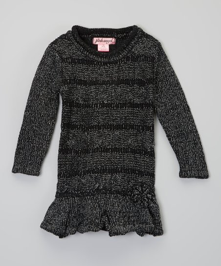 Black Metallic Ruffle Sweater Dress - Infant
