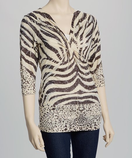 Black & White Zebra Twist Top - Petite