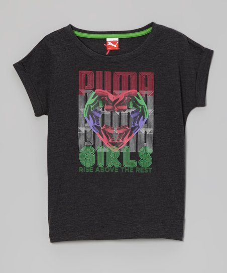 Charcoal Heather Gray 'Puma Girls' Tee - Toddler & Girls