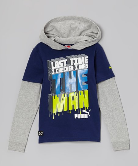 Blue Depths 'The Man' Slider Layered Hoodie - Boys