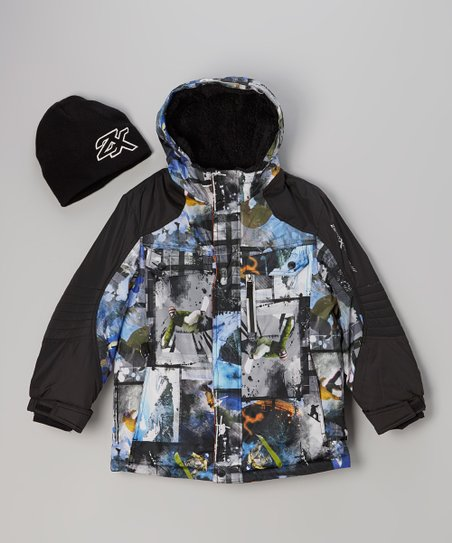 Blue & Orange Photo Graphic Coat & Beanie - Boys