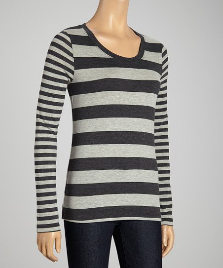Charcoal & Heather Gray Double-Stripe Scoop Neck Top