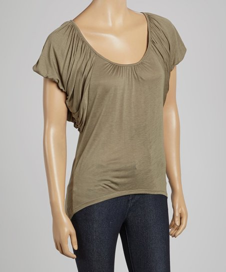 Olive Ruched-Sleeve Top