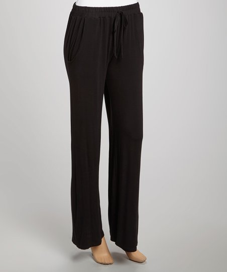 Black Relaxed Drawstring Lounge Pants