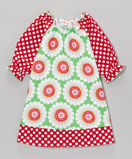 Green & Red Floral Polka Dot Peasant Dress - Toddler & Girls