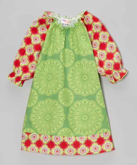 Lime & Red Floral Tile Peasant Dress - Toddler & Girls