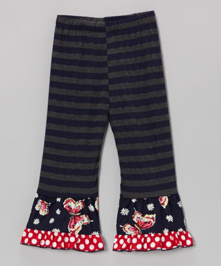Navy & Gray Stripe Butterfly Ruffle Leggings - Toddler & Girls