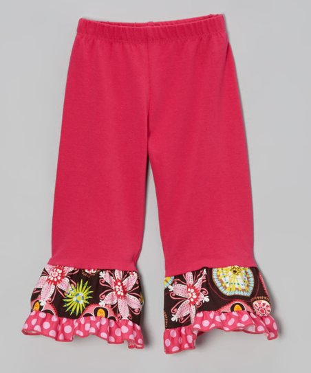 Hot Pink & Brown Floral Ruffle Leggings - Toddler & Girls