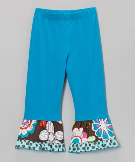 Teal & Brown Floral Ruffle Leggings - Toddler & Girls