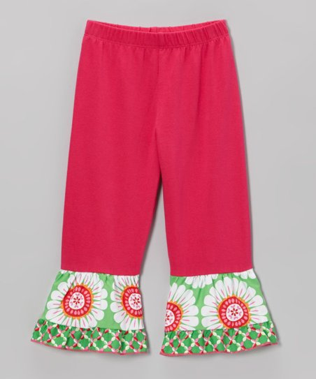 Hot Pink & Green Floral Ruffle Leggings - Toddler & Girls