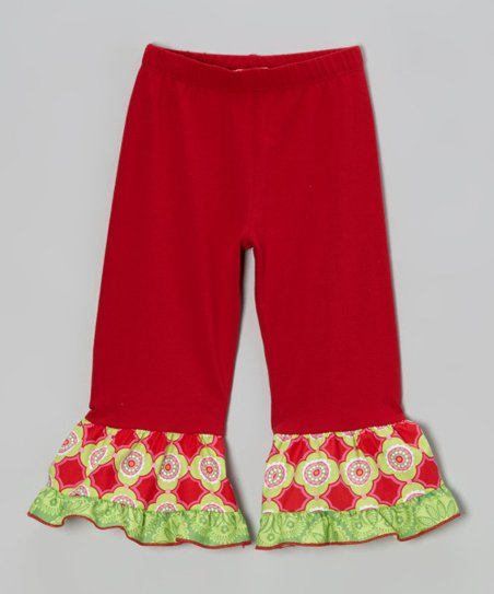 Dark Red & Lime Tile Ruffle Leggings - Toddler & Girls