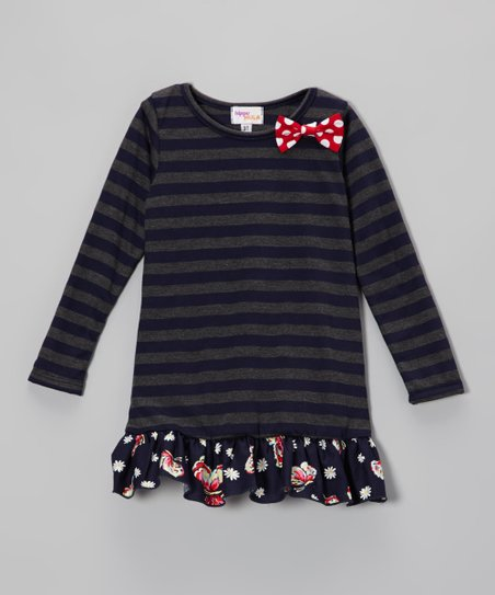 Navy & Gray Stripe Butterfly Peplum Tunic - Toddler & Girls