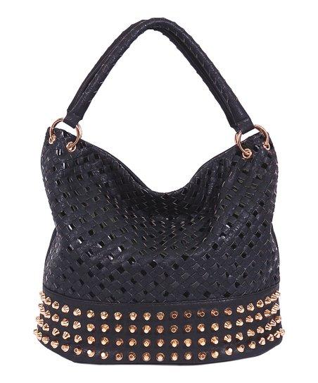 Black Basket Weave Studded Hobo