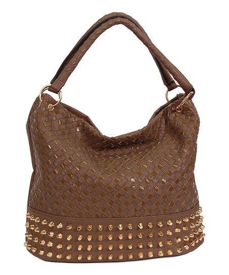 Taupe Basket Weave Studded Hobo