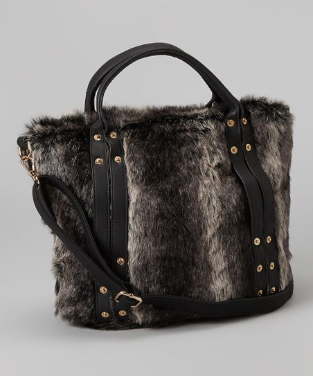 Black Faux Fur Tote