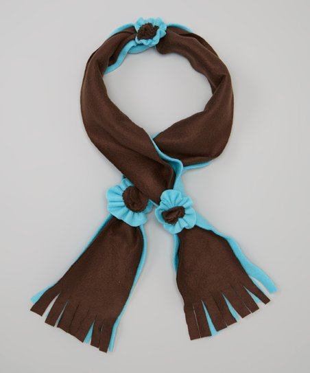 Blue & Brown Flower Scarf