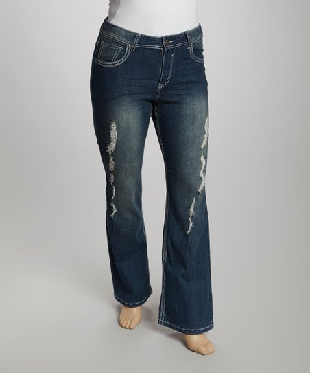 Blue Distressed Fadeout Flair Jeans - Plus