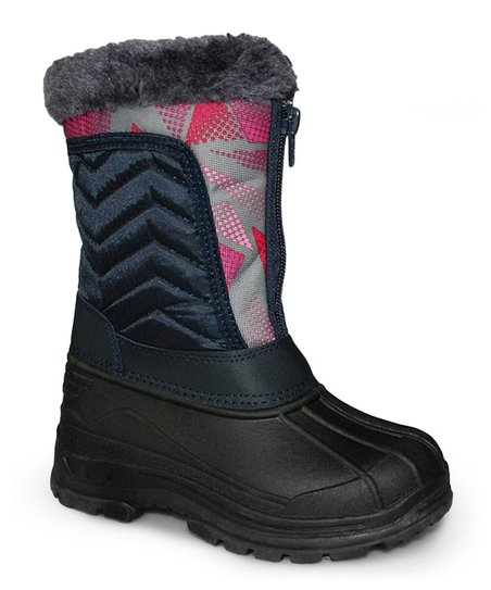 Navy Zigzag Quilted Boot