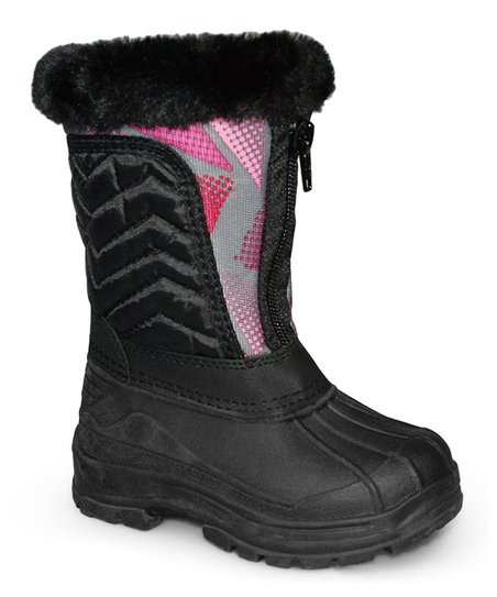 Black Zigzag Quilted Boot - Kids