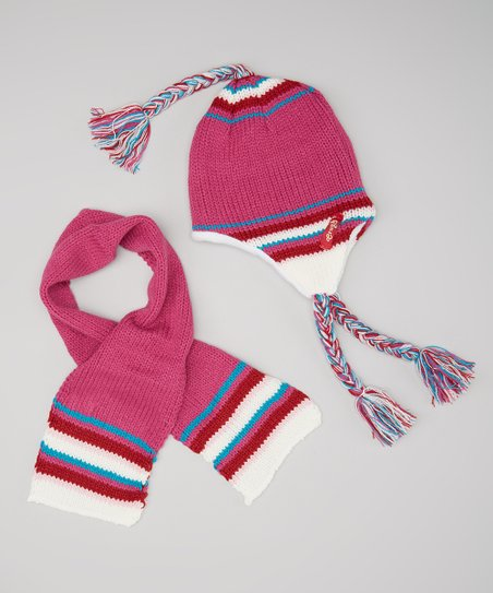Hot Pink & Red Braided Earflap Beanie & Scarf