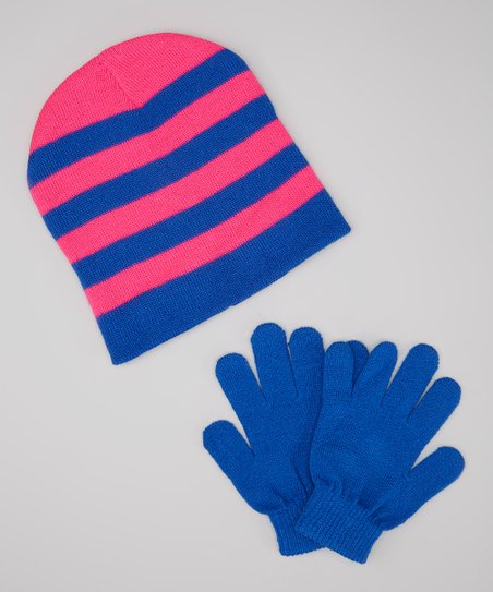 Pink & Royal Blue Stripe Beanie & Gloves