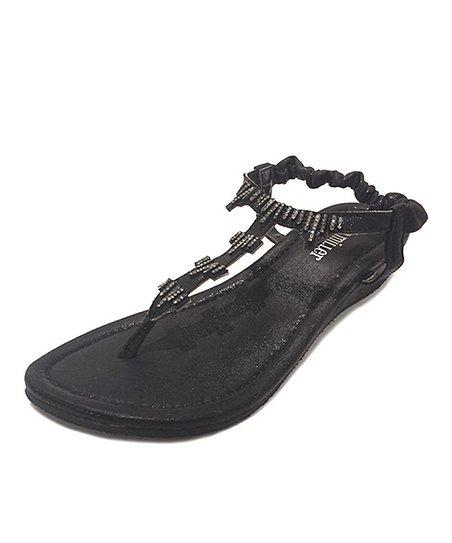 Black Shimmer T-Strap Sandal