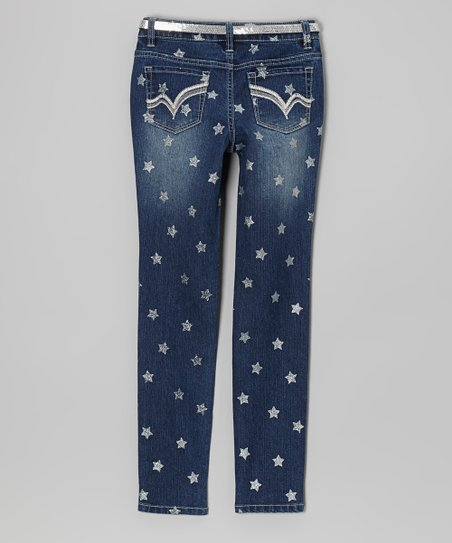 Medium Stone Wash Foil Star Skinny Jeans