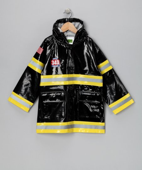 Black 'Fire Chief' Raincoat - Toddler & Kids