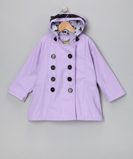 Lavender & Black Carousel Raincoat - Toddler & Kids