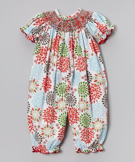 Red & Blue Poppy Burst Playsuit - Infant & Toddler