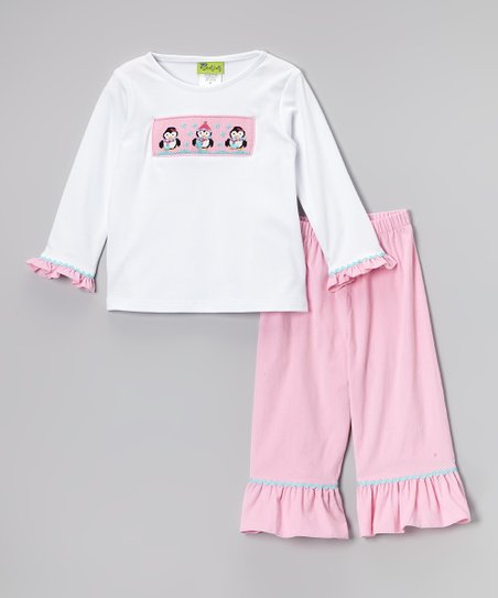 White & Pink Penguin Tee & Pants - Toddler & Girls