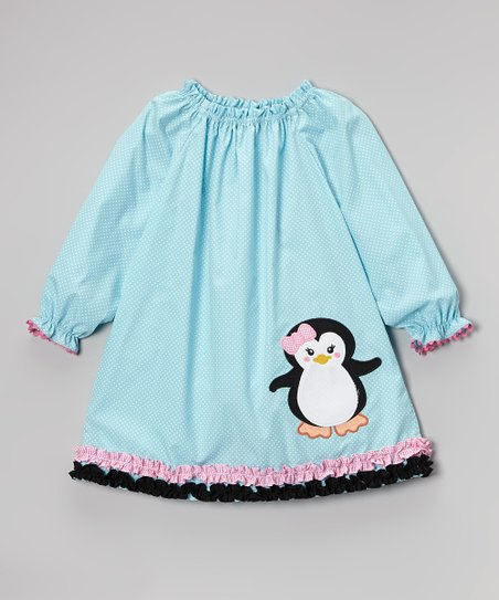 Blue & Pink Penguin Peasant Dress - Infant, Toddler & Girls