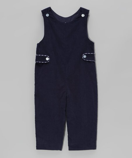 Navy Corduroy Button Tab Overalls  - Infant & Toddler