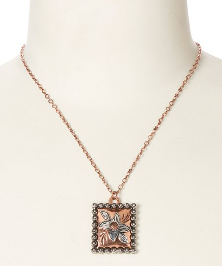 Copper Square Flower Pendant Necklace