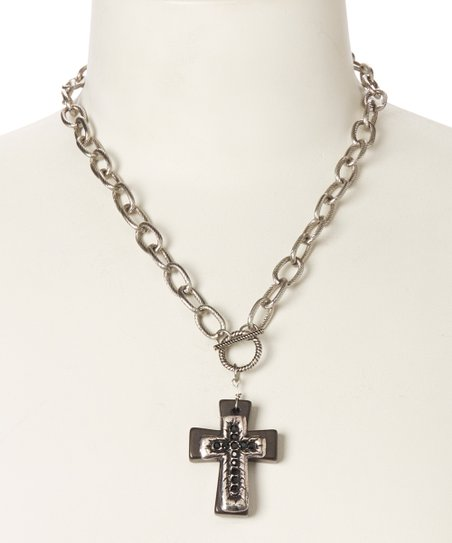 Black Cross Chain Link Pendant Necklace